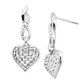 Drop Heart Earrings with Swarovski Crystals