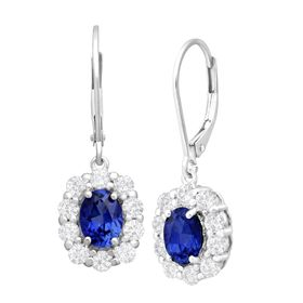 3 5/8 ct Ceylon & White Sapphire Drop Earrings