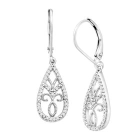 1/5 ct Diamond Filigree Drop Earrings