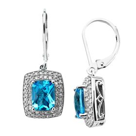 3 1/8 ct Swiss Blue Topaz & 1/3 ct Diamond Drop Earrings