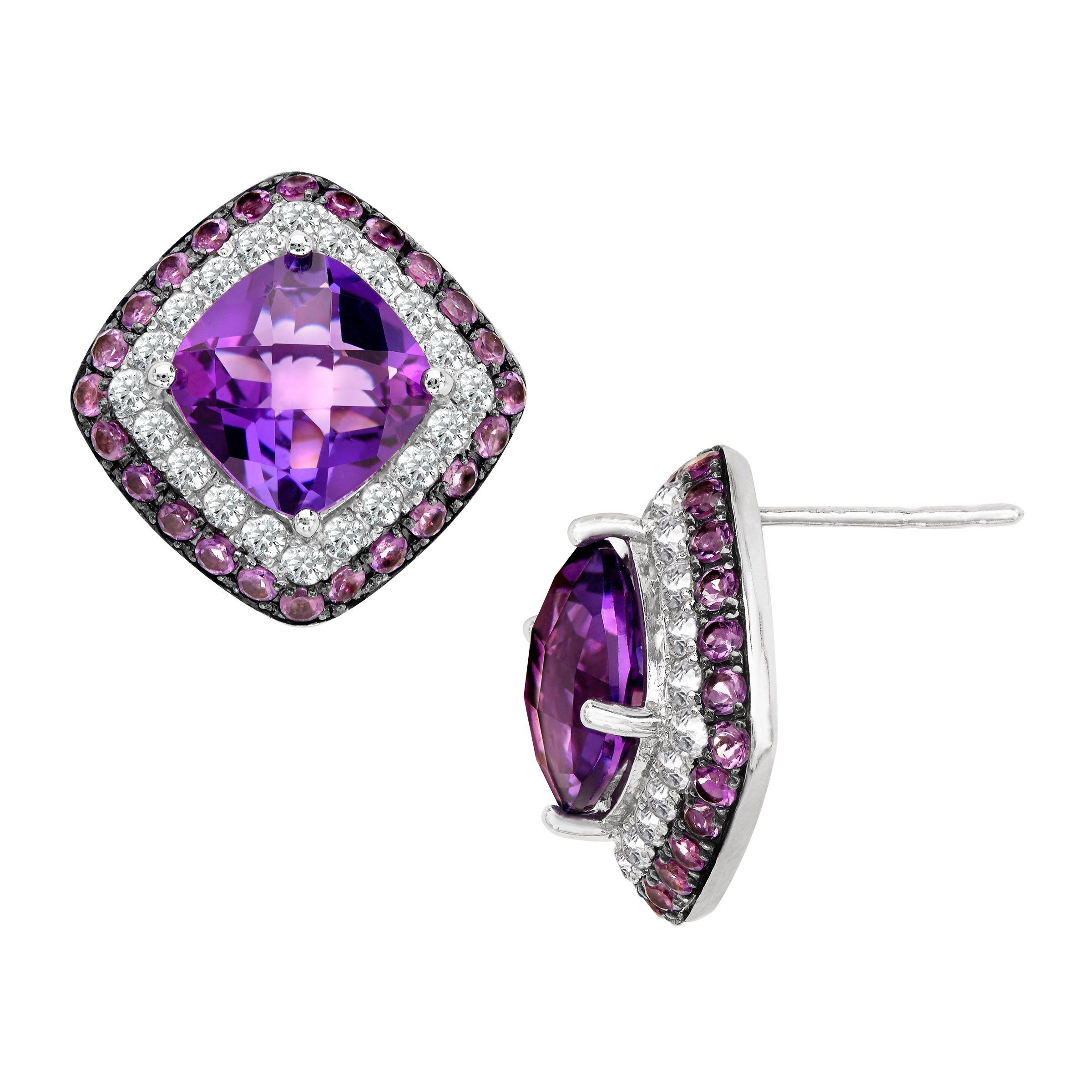 6 1 8 Ct Natural Amethyst White Topaz Stud Earrings In Sterling Silver
