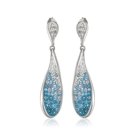a41ccde444222 Crystaluxe Blue Swarovski Crystal Twisted Drop Earrings in Sterling Silver