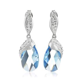 Drop Earrings with Blue Briolette Swarovski Crystals