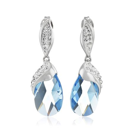 c826ca9b1 Crystaluxe Drop Earrings with Blue Briolette Swarovski Crystals in ...