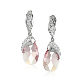 Drop Earrings with Pink Briolette Swarovski Crystals