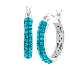 Hoop Earrings with Indicolite Swarovski Crystals