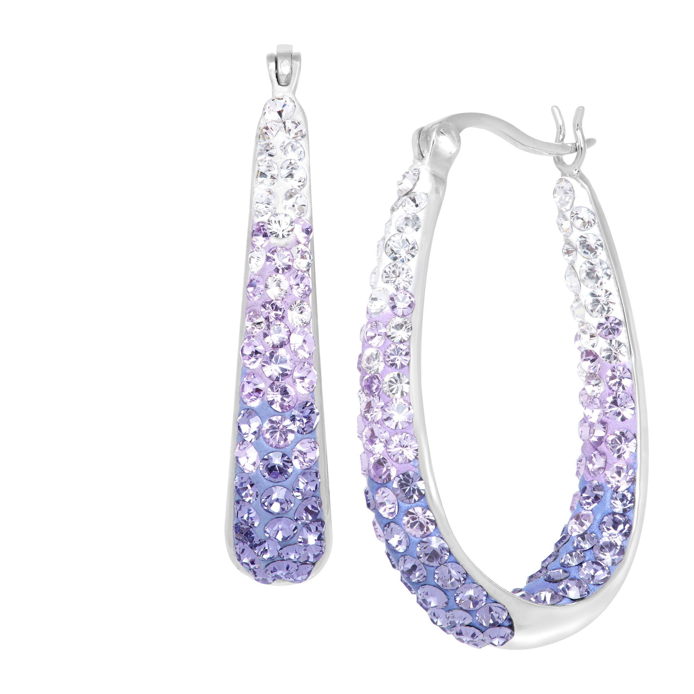 Details About Crystaluxe Oval Hoop Earrings With Lavender Swarovski Crystals Sterling Silver
