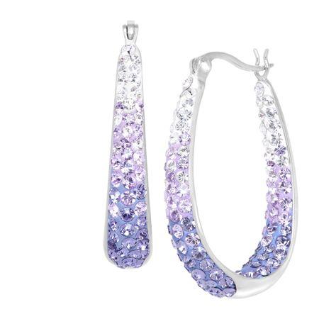 Oval Hoop Earrings With Purple Swarovski Crystals