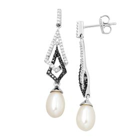 Pearl & 1/3 ct Black & White Diamond Drop Earrings