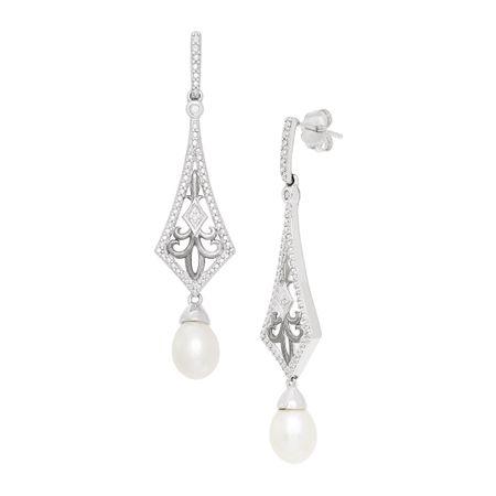 5c9d49386c Art Deco Drop Freshwater Pearl Earrings With Diamonds in Sterling ...