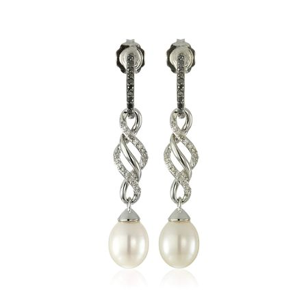 Pearl & 1/6 ct Black & White Diamond Drop Earrings