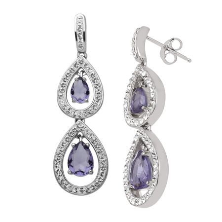 d016f9ca7 Crystaluxe Drop Earrings with Purple Swarovski Crystals in Sterling ...