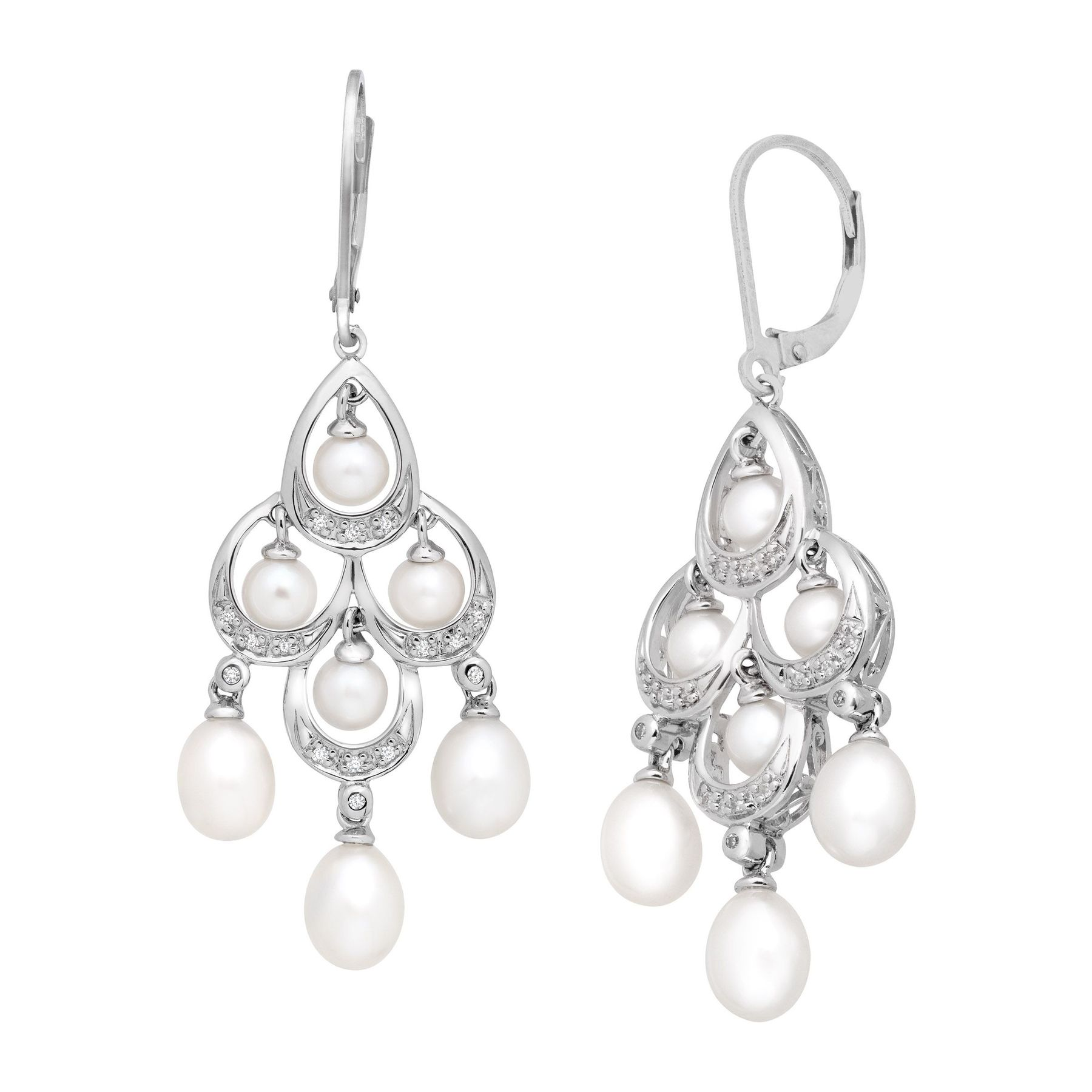 Freshwater pearl and 110 ct diamond chandelier earrings in sterling pearl 110 ct diamond chandelier earrings mozeypictures Image collections