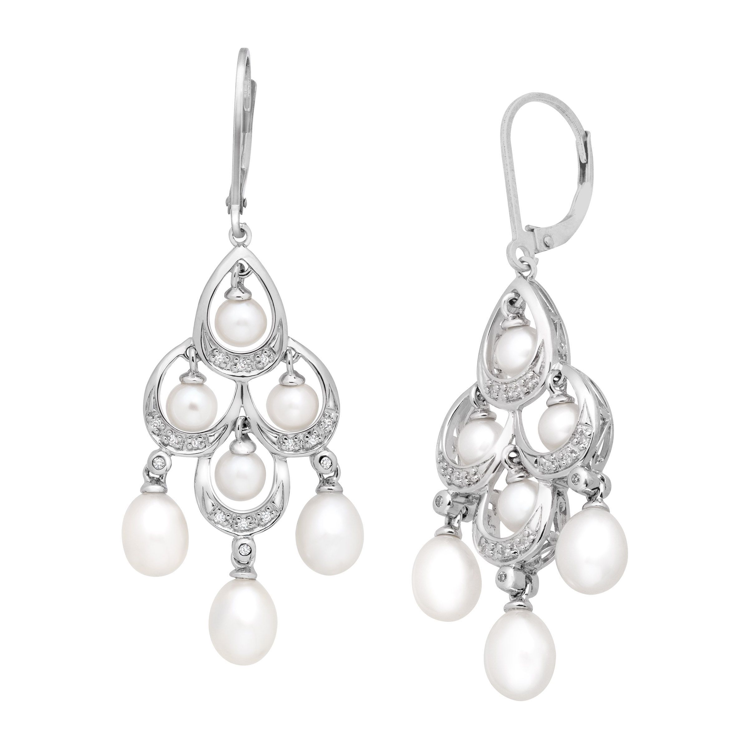 7bb7ec479b9 Details about Freshwater Pearl and 1 10 ct Diamond Chandelier Earrings in Sterling  Silver