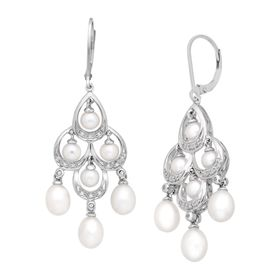 Pearl & 1/10 ct Diamond Chandelier Earrings