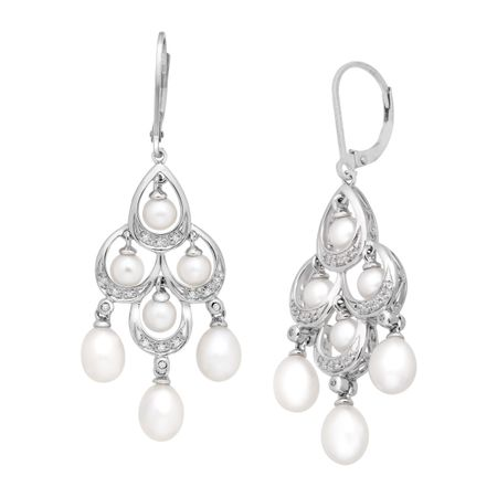 Freshwater pearl and 110 ct diamond chandelier earrings in sterling pearl 110 ct diamond chandelier earrings aloadofball Images