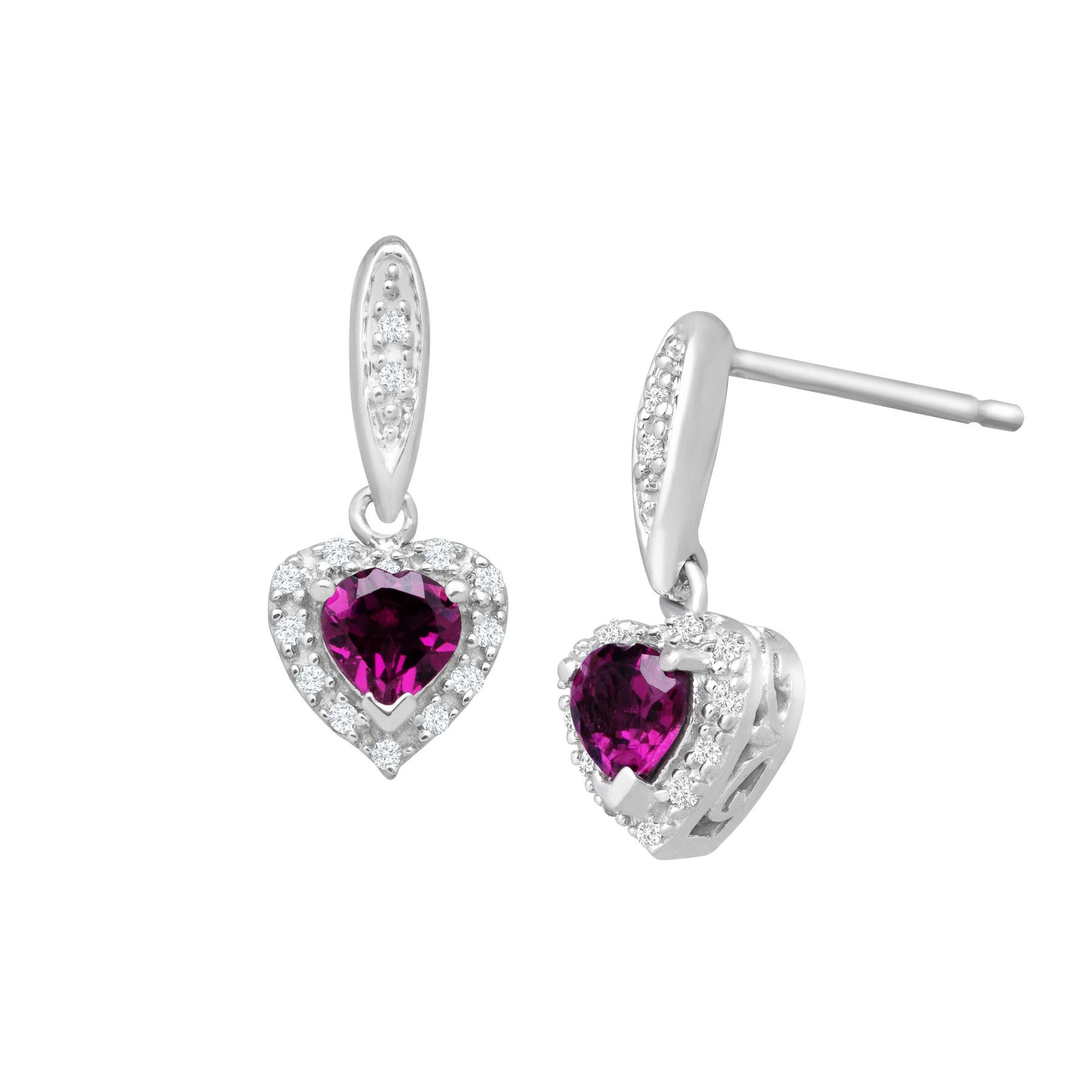 3 4 Ct Rhodolite Garnet Heart Drop Earrings