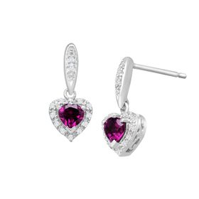 3/4 ct Rhodolite Garnet Heart Drop Earrings