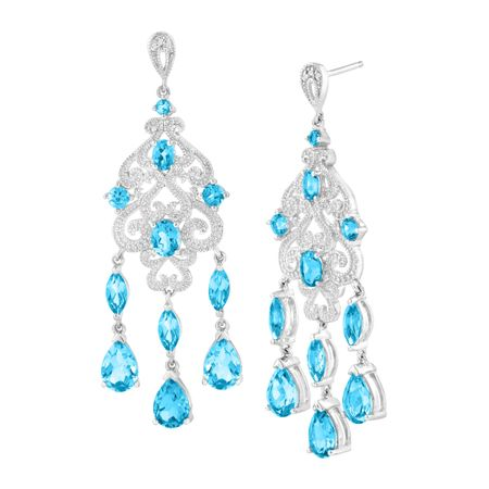8 12 ct natural swiss blue topaz chandelier earrings with diamonds 8 12 ct blue topaz chandelier earrings with diamonds aloadofball Image collections