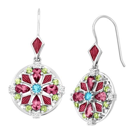 3 ct Multi Semi-Precious Gem Medallion Drop Earrings
