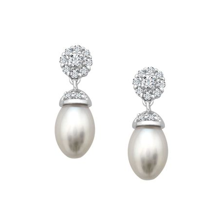 Pearl & White Topaz Drop Earrings