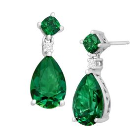 Drop Earrings with 11 ct Green Swarovski Zirconia