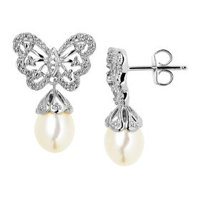 Butterfly Pearl Drop Earrings with Diamonds