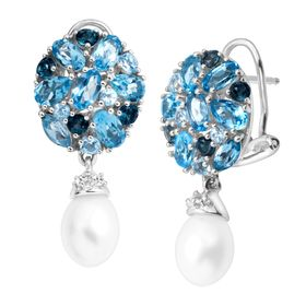 Pearl & 5 1/8 Blue & White Topaz Drop Earrings
