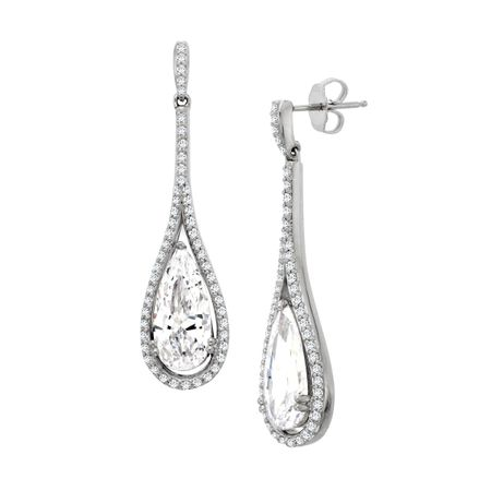 Teardrop Earrings With Swarovski