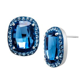 Stud Earrings with Denim Swarovski Crystals