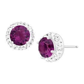 February Earrings with Purple Swarovski Crystals