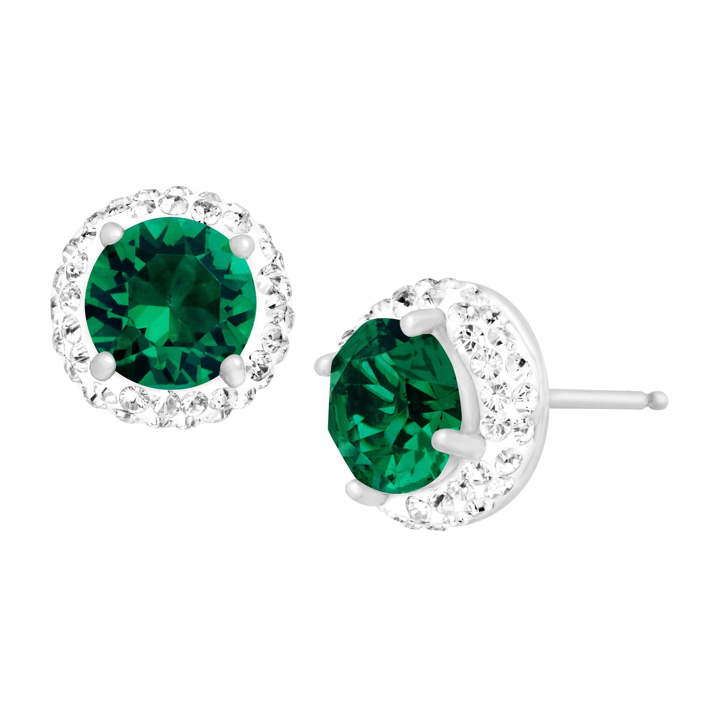 Crystaluxe May Earrings With Green Swarovski Crystals In Sterling Silver