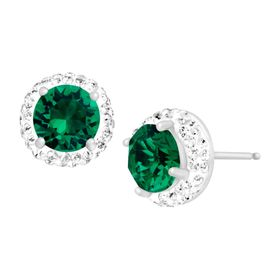 May Earrings with Green Swarovski Crystals