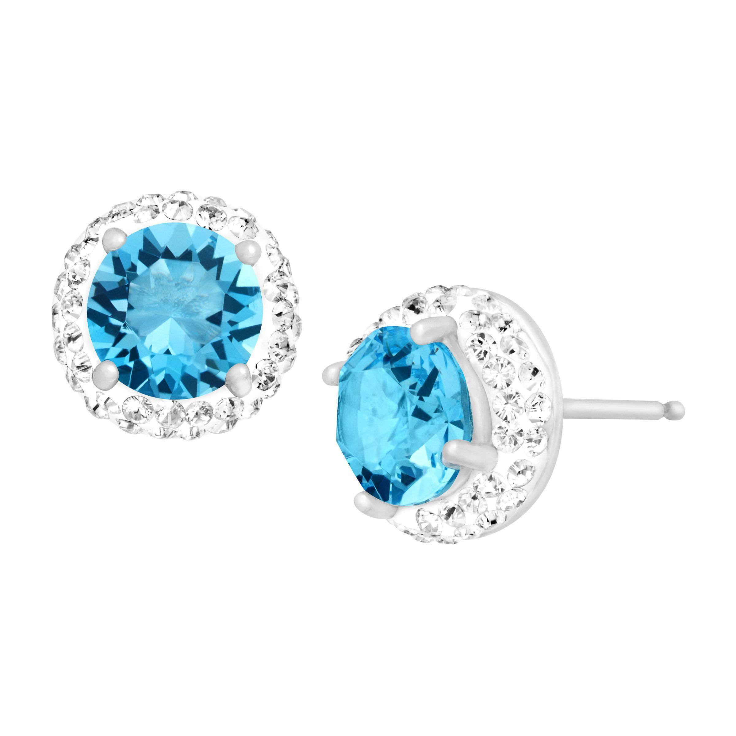 Crystaluxe March Earrings With Light Blue Swarovski
