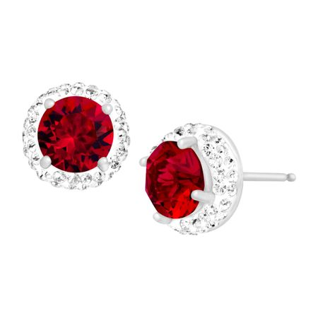 Crystaluxe July Earrings with Red Swarovski Crystals in Sterling ... 9355dd1513