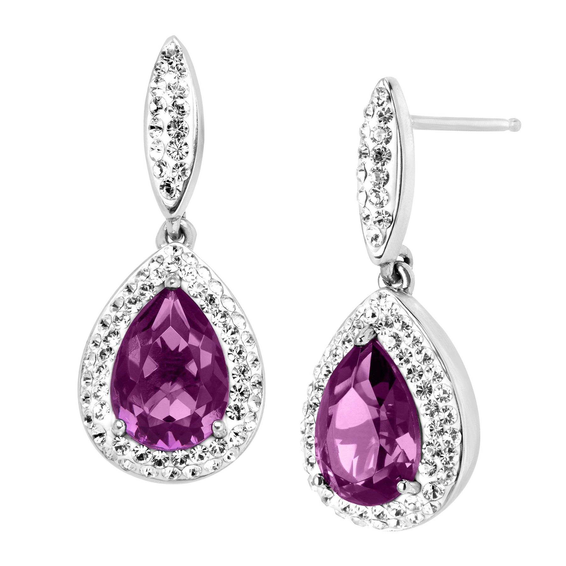 plated drop earring cubic from women fashion hyperbole romantic high jewelry zircon colors purple color gold elegant in big item earrings quality
