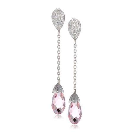 Briolette Drop Earrings with Pink & White Crystals