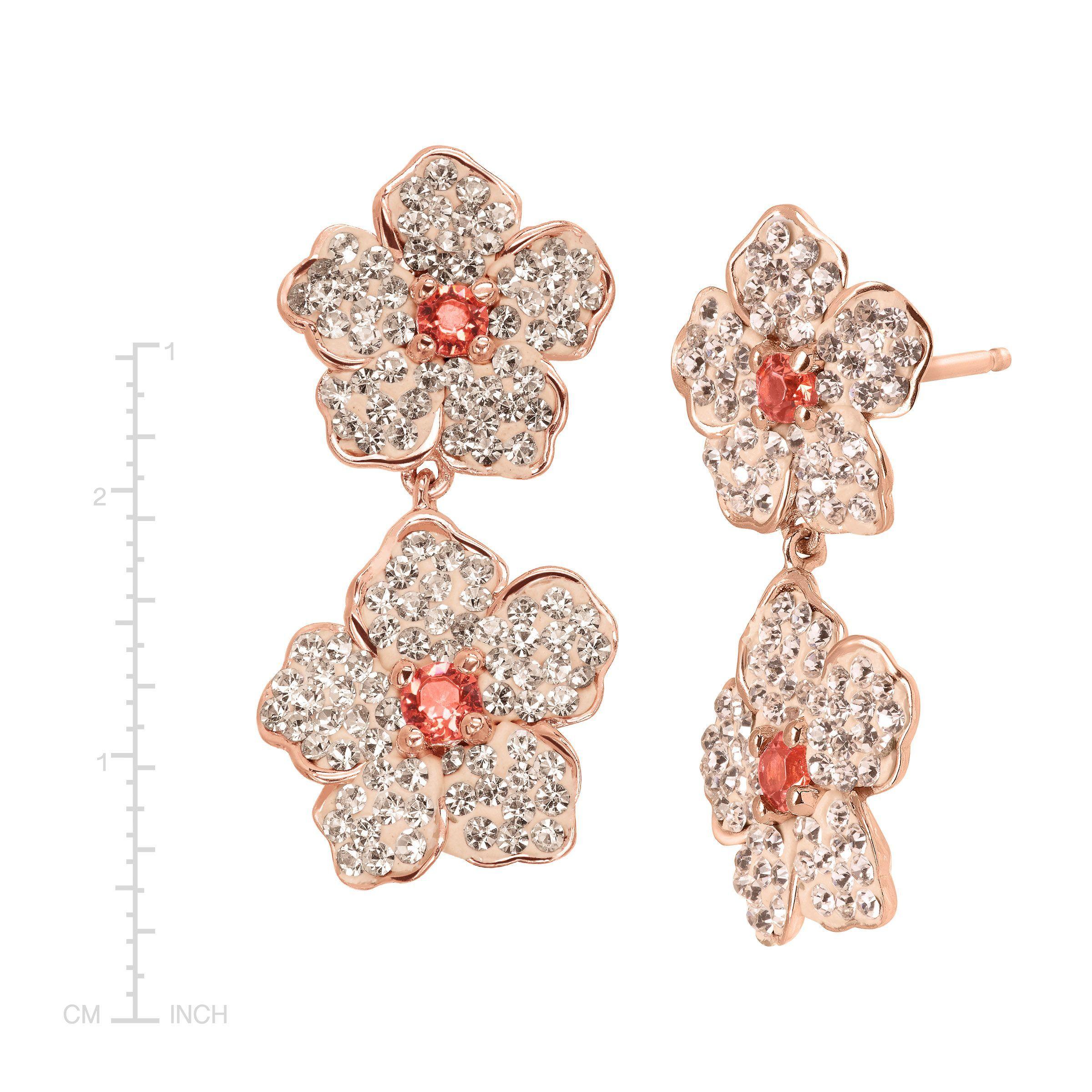 863311dc6a Crystaluxe Flower Drop Earrings W Swarovski Crystals 18k Rose Gold