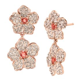 Double Flower Drop Earrings with Pink Swarovski Crystals