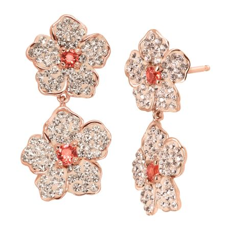 Crystaluxe Double Flower Drop Earrings With Pink Swarovski Crystals In 18k Rose Gold Plated Sterling Silver