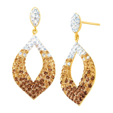 d06c6ec00 Crystaluxe Open Drop Earrings with Swarovski Crystals in 14K Gold ...