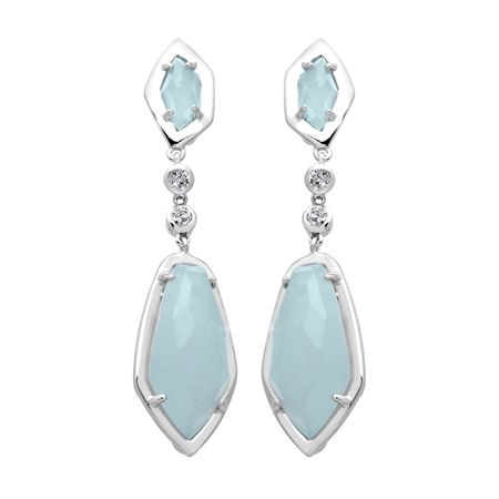9 ct Aquamarine & White Quartz Drop Earrings
