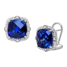12 ct Sapphire & 1/5 ct Diamond Stud Earrings