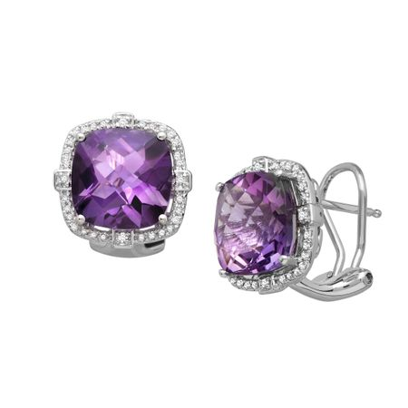 7 5/8 ct Amethyst & 1/5 ct Diamond Cushion Earrings