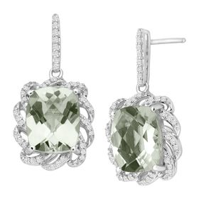 5 1/2 ct Green Amethyst & 1/4 ct Diamond Drop Earrings