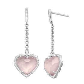 4 5/8 ct Rose Quartz Heart Drops with Diamonds