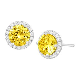Stud Earrings with Yellow Swarovski Zirconia