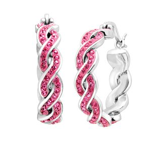 Braided Hoop Earring with Swarovski Crystals