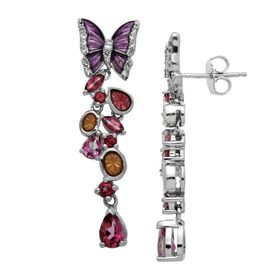 2 1/3 ct Rose Mystic Topaz Butterfly Drop Earrings
