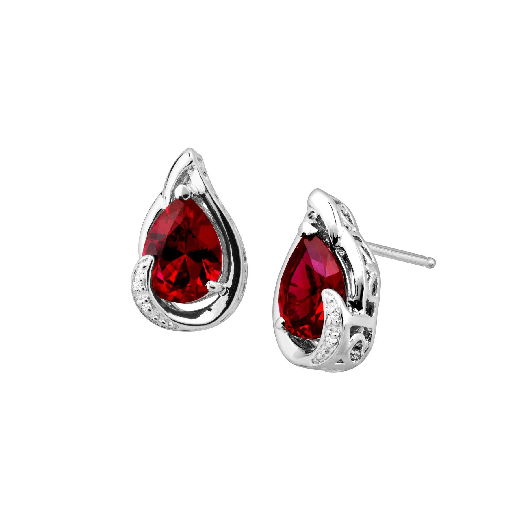 3 Ct Ruby Stud Earrings With Diamonds